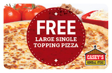 Free Large Single Topping Pizza Card